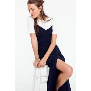 J. Crew Drapey Side-Slit Spaghetti-Strap Dress